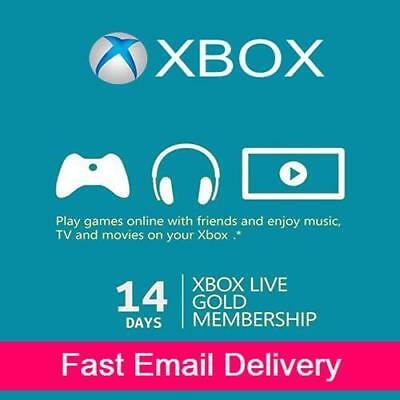 XBOX LIVE 14 Day (2 Weeks) GOLD Trial Membership Digital Code Xbox One Xbox 360 for sale  USA