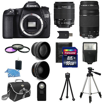 Canon EOS 70D Camera + 4 Lens Kit 18-55 IS STM  +75-300 + 16GB & More Deluxe Kit