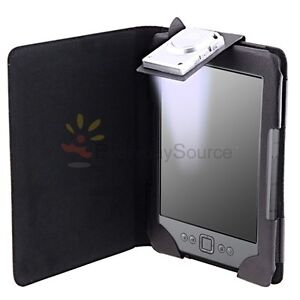 For Amazon Kindle 4 Black PU Leather Case Cover With Built-in LED Reading Light