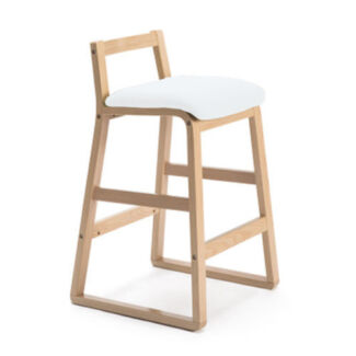 Plywood Bar stool Kitchen Dining Chairs PU Leather-White/Ivory