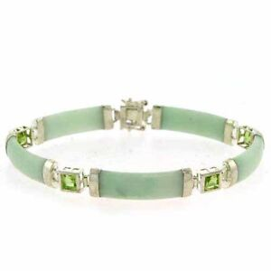 Sterling Silver Genuine Peridot and Green Jade Bracelet