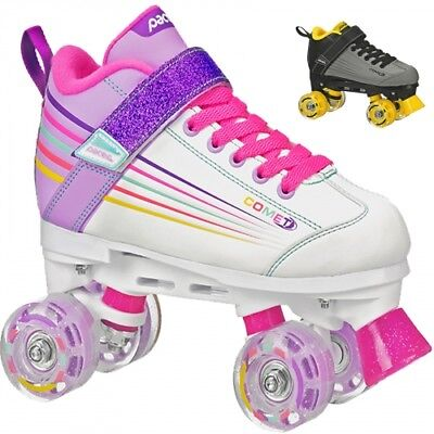 Pacer Comet Kids Roller Skates with Light Up Wheels (White) Quad Skates - Lighted Roller Skates