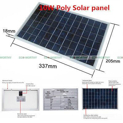 10Watt 12Volt Solar Panel High Efficiency for Car Boat Home Garden Travel