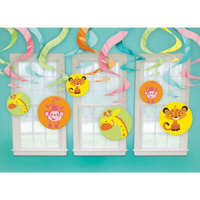 FISHER PRICE BABY SHOWER HANGING SWIRL DECORATIONS (12) ~ Party Supplies - Fisher Price Baby Shower Decorations