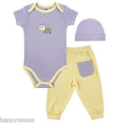 Hudson Baby Girls 3 Pcs Purple Bamboo Layette Set Bodysuit&P