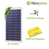 Newpowa 30 Watt 30W Solar Panel With 3ft Wire + Controller 12V Charge Kit RV