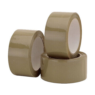 12 ROLLS OF EXTRA STRONG BROWN LOW NOISE PACKAGING TAPE 50MMX66M