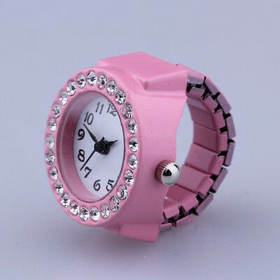 Pink Alloy Quartz Pocket Finger Ring Watch Rhinestone Round Dial LW