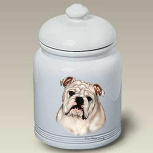 White Bulldog Ceramic Treat Jar TB 34200
