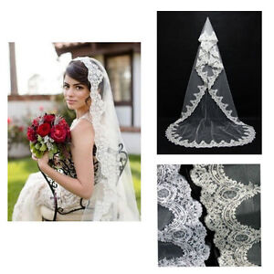 Beautiful 1T 3m Bridal Wedding Cathedral Lace Edge Veil - New!