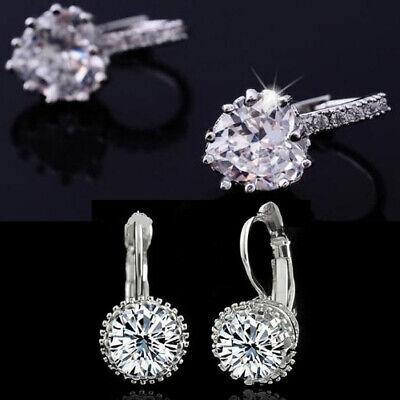 Halo Heart Cubic Zirconia Earrings 925 Sterling Silver Leverback Huggie CZ - Cubic Zirconia Leverback Earrings