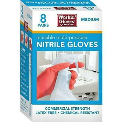 Clean Ones 8-pairs Workin Gloves 12 Reusuable Multi-purpose Nitrile Gloves 15