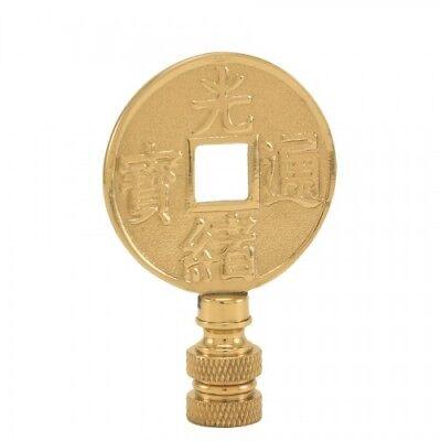 "Lamp parts: BRASS ""ANCIENT COIN"" LAMP SHADE FINIAL~ FINIAL THREAD"