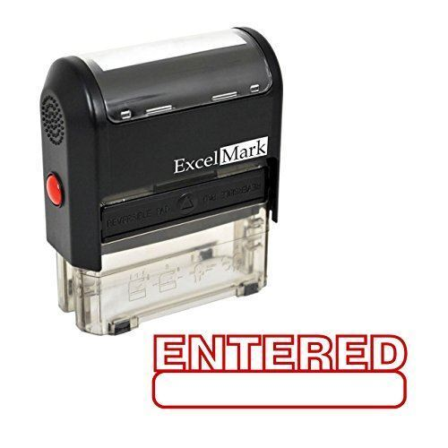 NEW ExcelMark ENTERED Self Inking Rubber Stamp A1539 | Red Ink