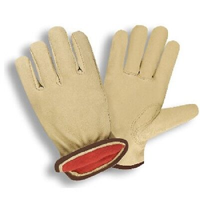PREMIUM GRAIN COWHIDE DRIVER, RED FLEECE LINED GLOVES - Cold Weather - -