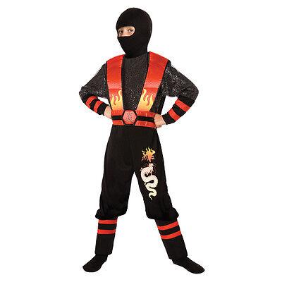 Boys Fire Dragon Ninja Costume Black Red Jumpsuit Armor Hood Kids Child - Dragon Costumes Kids