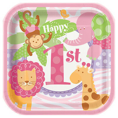 Safari Paper Plates (1st BIRTHDAY Pink Safari SMALL PAPER PLATES (10) ~ Party Supplies Cake)
