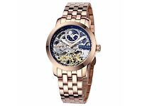 Zeitner Men Iconic Automatic Rose Gold Wrist Watch with black Skeleton