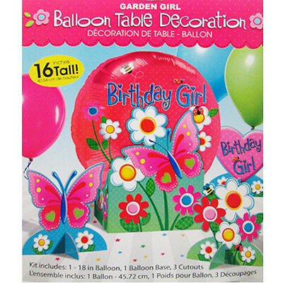 GARDEN GIRL MYLAR BALLOON TABLE DECORATION KIT ~ Birthday Party Supplies Girly - Girly Birthday Decorations