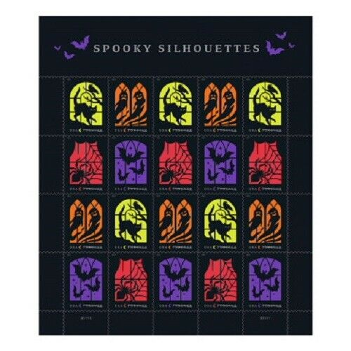 Spooky Silhouettes sheet of 20 Stamps