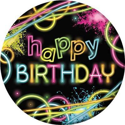 HAPPY BIRTHDAY Glow Party LARGE PAPER PLATES (8) ~ Supplies Dinner Luncheon Neon