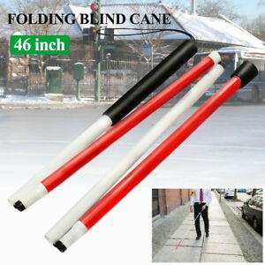 46'' 4 Part Folding Blind Guide Cane Walking Stick Wrist Strap Reflector US