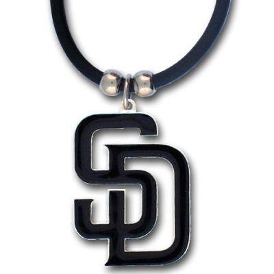 San Diego Padres Rubber Cord Necklace w/ Logo Charm Licensed MLB Jewelry San Diego Padres Jewelry