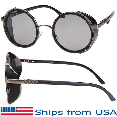 Vintage Retro Mirror Round Sunglasses Goggles Steampunk Punk