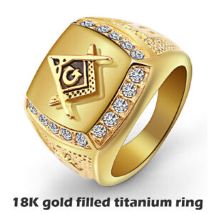 Freemasonry Ring stainless steel with 18K gold filled Size 14