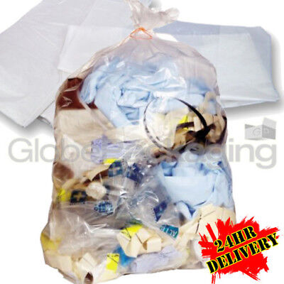 100 x LARGE CLEAR REFUSE SACKS RUBBISH BAGS 18x29x39