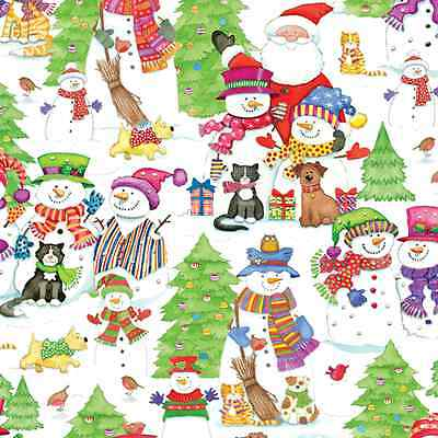 "CASPARI  CHRISTMAS GIFT WRAP PAPER ""SNOW FRIENDS"" 1 CONTINUOUS ROLL"