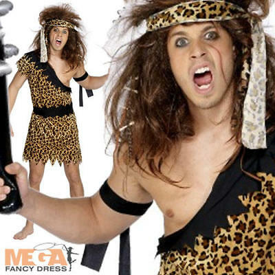 Cave Man Outfit (Caveman Mens Cave Man Fancy Dress Tarzan Adult Men's Costume)