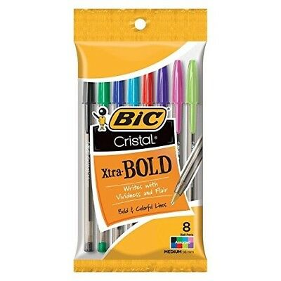 New Bic Cristal Xtra-bold Ball Pens 1.6 Mm Assorted - 8 Ct