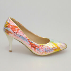 WOMAN-SHOES-SILVER-GOLD-BLUE-ORANGE-GLITTER-SNAKE-MID-HIGH-HEELS-EVENING-PARTY