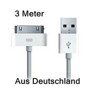 3m Lang USB Ladekabel für iPhone 3G 4 4S iPod Touch Nano iPad 1/2/3 Datenkabel