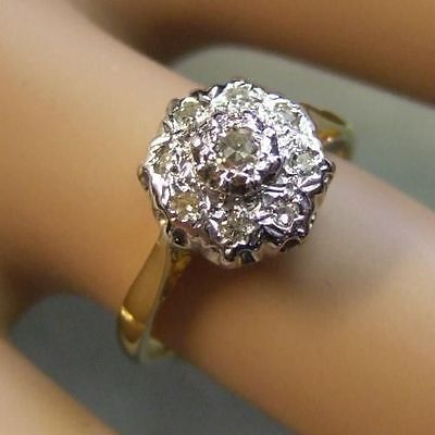 9 ct gold second hand diamond cluster ring