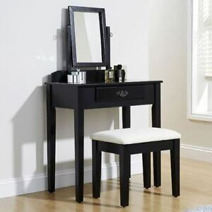 Contemporary Shaker Design Black Dressing Table with Mirror & Padded Stool