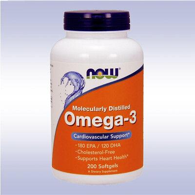 Now Omega 3  200 Softgels  Fish Oil 180 Epa 120 Dha Fatty Acids Cholesterol Free