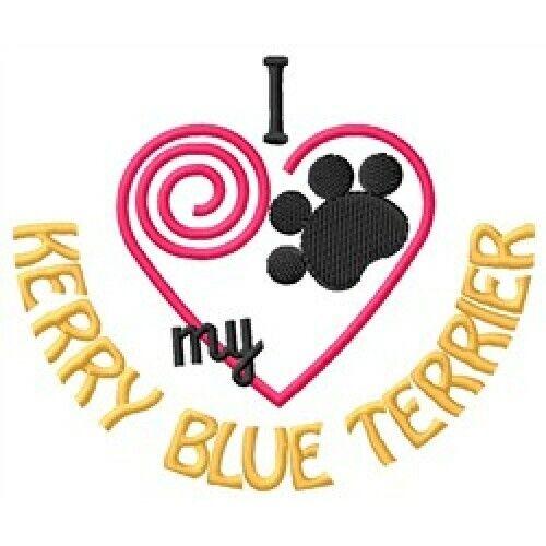 """I """"Heart"""" My Kerry Blue Terrier Short-Sleeved T-Shirt 1389-2 Size S - XXL"""