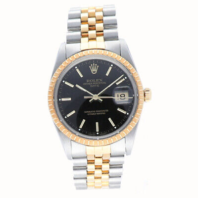 Rolex 15053 Date 34mm Black Dial Two Tone Jubilee Automatic Men's Watch