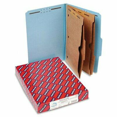 Smead 19081 Blue Pressboard Classification Folders With Pocket-style Dividers