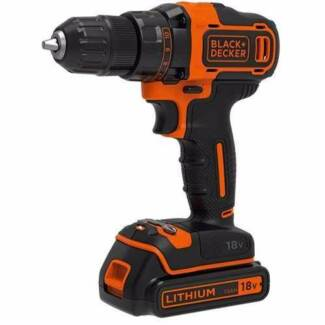 Black and Decker Drill Driver 18v with 2.0ah, 1.5ah batt, Charger