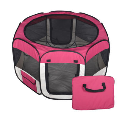 Small Pet Dog Cat Tent Playpen Exercise Play Pen Soft Crate Fence Case Burgundy