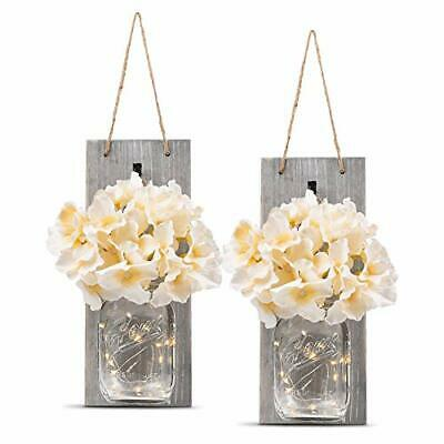 HOMKO Decorative Mason Jar Wall Decor Rustic Wall Sconces with LED Fairy Lights](Mason Jars Decorated)