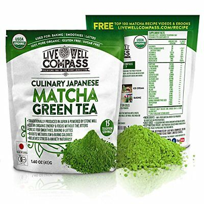 Best Japanese Organic Matcha Green Tea Powder Culinary (15 Servings 1.60oz)