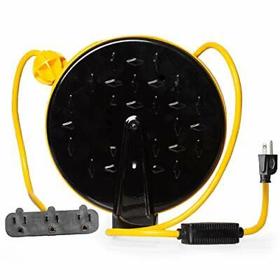 Retractable Extension Cord Reel with 3 Electrical Power Outlets - Yellow & Black