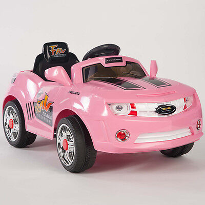 Kids Pink Camaro Style Ride On RC Car Remote Control Electric Power Wheels MP3