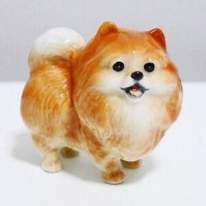 FIGURINE Miniature Pomeranian Pom Dog Handcraft Animal Figurine Ceramic Handmade