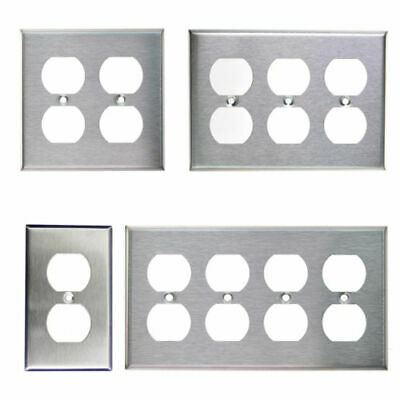 Brushed Stainless Steel Outlet Cover Duplex Metal Wall Plates 1 2 3 4 -