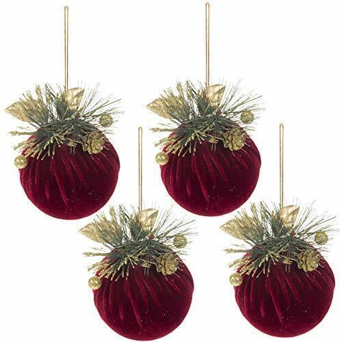 4 Large Burgundy Velvet Christmas Tree Ornaments Dark Red Maroon  Gold Embell